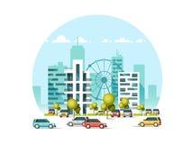 Vector l'illustrazione delle automobili che parcheggiano lungo la via Traffico dentro in città Grattacieli della città che svilup illustrazione vettoriale