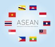 Vector l'illustrazione delle bandiere di paesi dell'ASEAN, stile piano illustrazione di stock