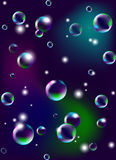 Vector l'illustrazione delle bolle di sapone su fondo scuro illustrazione di stock