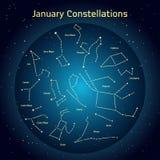 Vector l'illustrazione delle costellazioni del cielo notturno a gennaio Immagini Stock Libere da Diritti