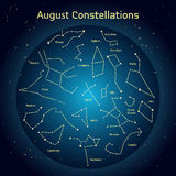 Vector l'illustrazione delle costellazioni il cielo notturno in August Glowing un cerchio blu scuro con le stelle nello spazio Fotografia Stock