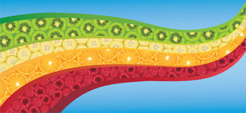 La forma di onda curva ha riempito di frutta variopinta fresca Fotografia Stock