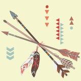 Vector l'illustrazione delle frecce etniche differenti con le piume Fotografie Stock Libere da Diritti