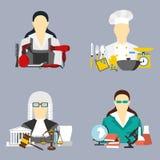 Vector l'illustrazione delle icone della raccolta dell'illustrazione di vettore dell'attrezzatura di professioni di colore Immagine Stock Libera da Diritti