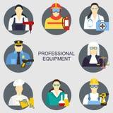 Vector l'illustrazione delle icone della raccolta dell'illustrazione di vettore dell'attrezzatura di professioni di colore Immagini Stock