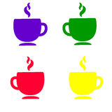 Vector l'illustrazione delle icone multicolori della tazza su fondo bianco Fotografia Stock