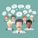 Vector l'illustrazione delle icone sociali di media nei fumetti con il gruppo di persone nello stile piano d'avanguardia Immagini Stock