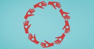 Vector l'illustrazione delle mani che formano il cerchio con le forme del cuore immagine stock libera da diritti