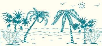 Vector l'illustrazione delle palme sulla spiaggia Immagine Stock