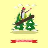 Vector l'illustrazione dello snowboarder che salta nella progettazione piana illustrazione vettoriale