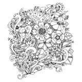 Vector l'illustrazione dello zentangle dei fiori, lo scarabocchio, lo zenart, modello Rebecca 36 Libri da colorare adulti illustrazione vettoriale