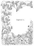 Vector l'illustrazione dello zentangle floreale della struttura, scarabocchiante illustrazione di stock