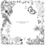 Vector l'illustrazione dello zentangle floreale della struttura, scarabocchiante Zenart, scarabocchio, fiori, farfalle, delicato, royalty illustrazione gratis