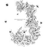 Vector l'illustrazione dello zentangle floreale della struttura, scarabocchiante Zenart, scarabocchio, fiori, farfalle, delicato, illustrazione di stock