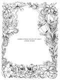 Vector l'illustrazione dello zentangle floreale della struttura, scarabocchiante Zenart, scarabocchio, fiori, farfalle, delicato, illustrazione vettoriale