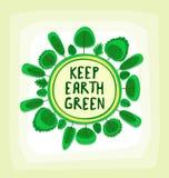 Vector l'illustrazione di albero piatto del fumetto per la campagna creativa della terra verde nello stile della sfera illustrazione vettoriale