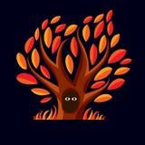 Vector l'illustrazione di arte dell'albero ramoso con la tana Due occhi Immagini Stock