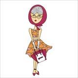 Vector l'illustrazione di bella ragazza in occhiali da sole, vestito stampato di modo con la borsa Signora affascinante su fondo  Immagini Stock Libere da Diritti