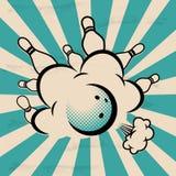Vector l'illustrazione di bowling di Pop art su un fondo d'annata Fotografie Stock Libere da Diritti