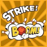 Vector l'illustrazione di bowling di Pop art su un fondo d'annata Colpo lanciante Immagini Stock Libere da Diritti