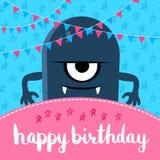Vector l'illustrazione di buon compleanno con il mostro e le ghirlande svegli del fumetto con iscrizione royalty illustrazione gratis