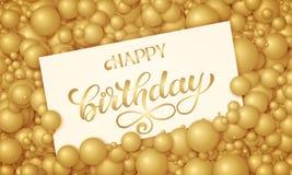 Vector l'illustrazione di buon compleanno della carta bianca disposta in perle o in sfere dorate Palle volumetriche Carta di rega Fotografia Stock