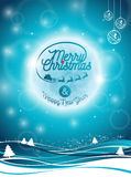 Vector l'illustrazione di Buon Natale festa e del buon anno con progettazione tipografica ed i fiocchi di neve sul backgrou del p Immagine Stock