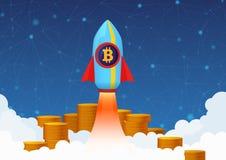 Vector l'illustrazione di concetto della crescita di Bitcoin con il razzo e le monete Pompa di Cryptocurrency Immagini Stock Libere da Diritti