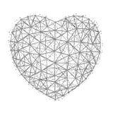 Vector l'illustrazione di cuore al giorno felice del ` s del biglietto di S. Valentino che consiste dei poligoni, dei punti e del Fotografie Stock