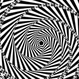 Vector l'illustrazione di fondo geometrico in bianco e nero di aumentare e giri il pentagono creano un ottico Immagine Stock Libera da Diritti