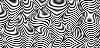 Vector l'illustrazione di fondo orizzontale strutturato barrato onda nello stile di modo 3d Fotografia Stock Libera da Diritti