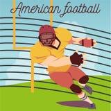 Vector l'illustrazione di funzionamento del giocatore di football americano con una palla Fotografie Stock Libere da Diritti