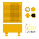 Vector l'illustrazione di goban e delle ciotole con le pietre illustrazione di stock