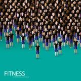 Vector l'illustrazione di grande folla degli uomini comunità di forma fisica Fotografie Stock Libere da Diritti
