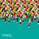 Vector l'illustrazione di grande folla degli uomini comunità di forma fisica Fotografia Stock Libera da Diritti
