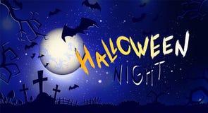 Vector l'illustrazione di Halloween con la luna piena, le tombe, i pipistrelli ed il testo Immagini Stock Libere da Diritti