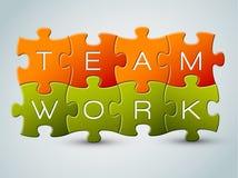 Vector l'illustrazione di lavoro di squadra di puzzle Immagini Stock Libere da Diritti