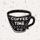Vector l'illustrazione di lerciume di una tazza di caffè con il testo di tipografia Illustrazione Vettoriale