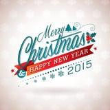 Vector l'illustrazione di Natale con progettazione tipografica ed il nastro sul fondo dei fiocchi di neve Fotografie Stock