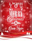 Vector l'illustrazione di Natale con progettazione tipografica sul fondo del paesaggio Immagine Stock Libera da Diritti