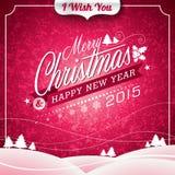 Vector l'illustrazione di Natale con progettazione tipografica sul fondo del paesaggio Immagine Stock