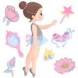 Vector l'illustrazione di piccola ballerina e l'altra bacchetta magica degli oggetti relativi, star, scintilli, fiore di è aument illustrazione vettoriale