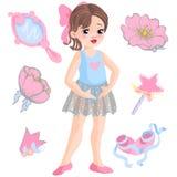 Vector l'illustrazione di piccola ballerina e l'altra bacchetta magica degli oggetti relativi, star, scintilli, fiore di è aument royalty illustrazione gratis