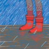 Vector l'illustrazione di pioggia persistente, stivali di gomma Fotografie Stock Libere da Diritti