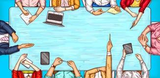 Vector l'illustrazione di Pop art di un uomo e di una donna che si siedono ad una vista del piano d'appoggio di negoziato Immagine Stock Libera da Diritti