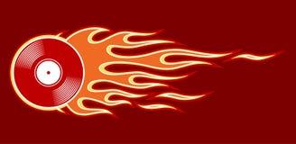 Vector l'illustrazione di retro icona d'annata dell'annotazione di vinile con le fiamme fotografie stock