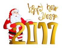 Vector l'illustrazione di Santa Claus che si congratula il buon anno 2017 Immagine Stock Libera da Diritti