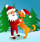 Vector l'illustrazione di Santa Claus con un simbolo del cane di 2018 fotografia stock