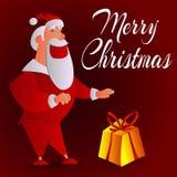 Vector l'illustrazione di Santa Claus divertente con un regalo su un fondo rosso Fotografia Stock