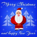 Vector l'illustrazione di Santa Claus in piano su un fondo blu Fotografia Stock Libera da Diritti